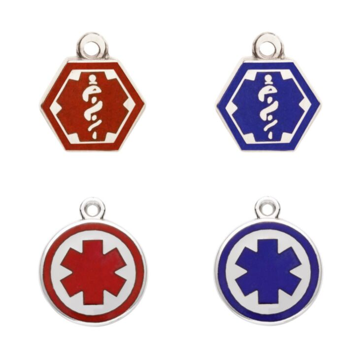 Stainless Steel and Silver Alert Charms