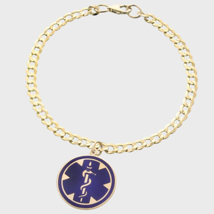 petite medical id bracelet in sterling silver, slightly curved medical id plate for comfortable fit, curb chain with claw clasp