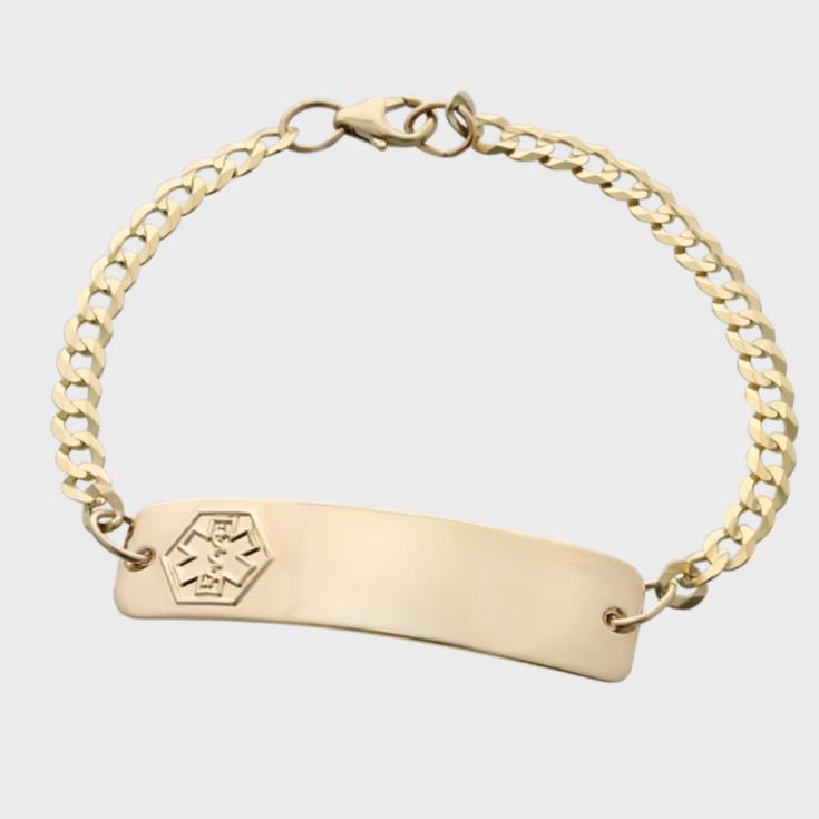 engraved gold classic medical id bracelet