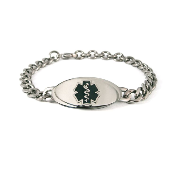 sleek titanium medical id bracelet, curb style chain, anti-allergy bracelet with oval plate, black medical emblem design