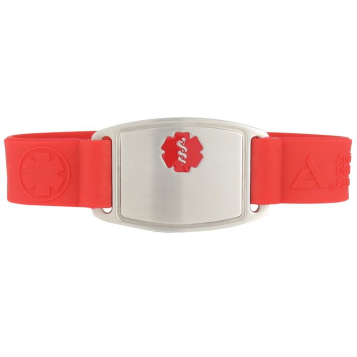 american diabetes association, stop diabetes red silicone band, medical id bracelet with stainless steel id tag designed with red medical emblem