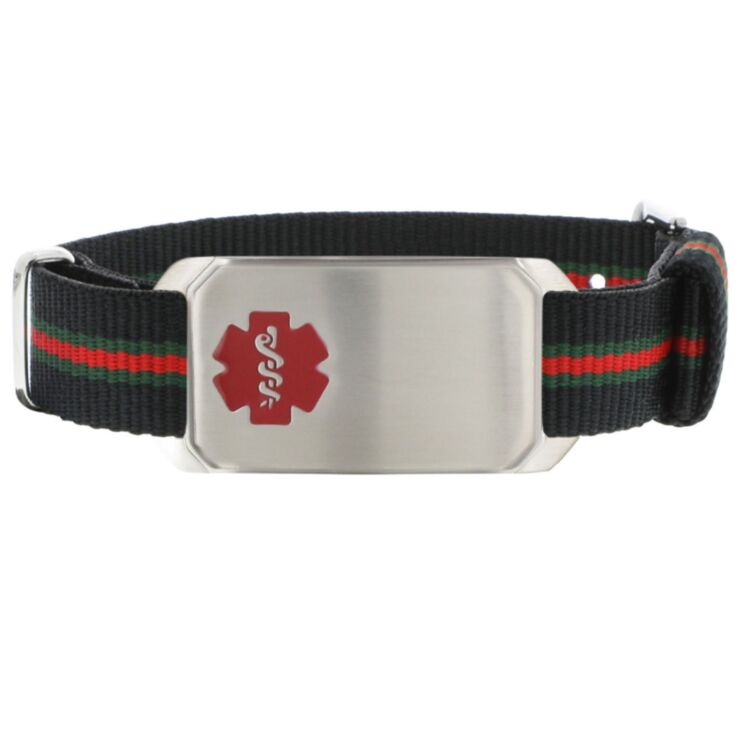 adjustable black leather medical id band for men with large stainless steel id tag, features embossed or red outline medical emblem