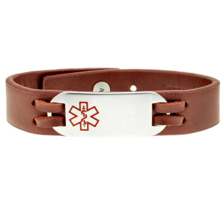 companion medical alert bracelet, leather urban-style with stainless steel id plate