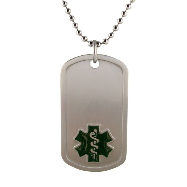 titanium dog tag medical id necklace with titanium bead chain, black medical emblem design on pendant, lightweight, durable design, and hypoallergenic