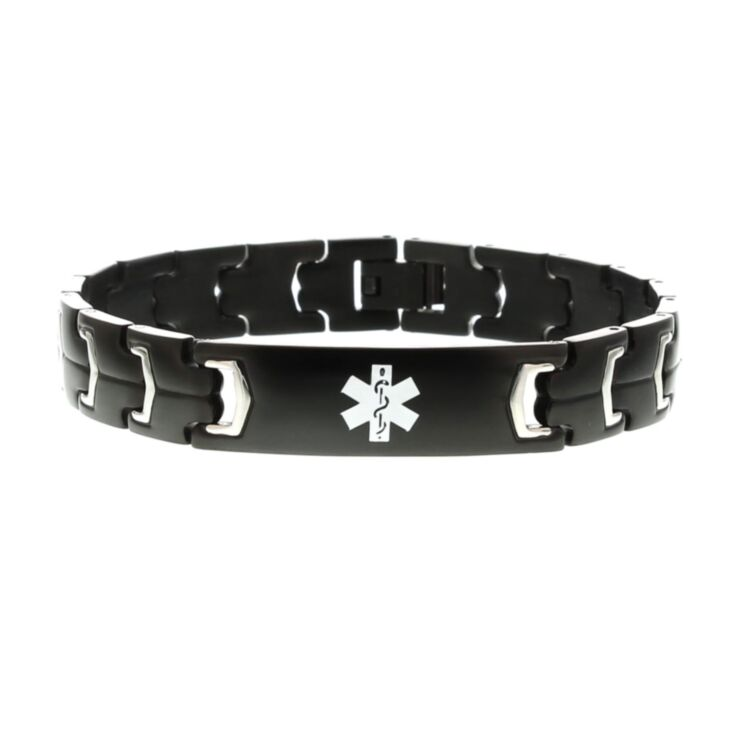 modern style medical id bracelet for men in black stainless steel with medical emblem accent