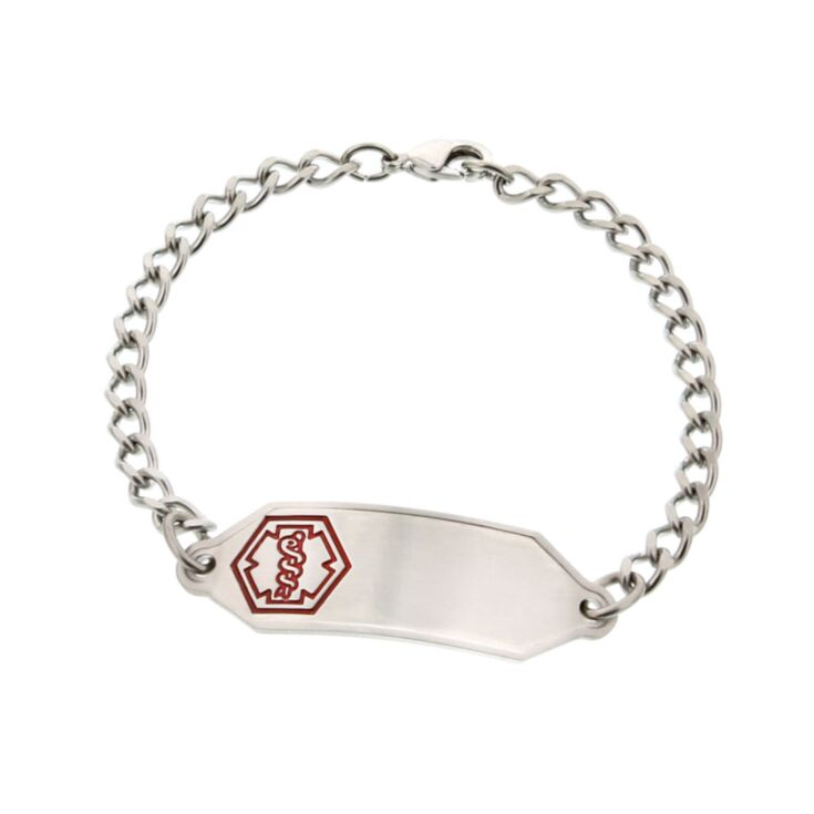Small Stainless Steel Classic Medical ID Bracelet for Children and Toddlers, slightly curved for comfortable fit