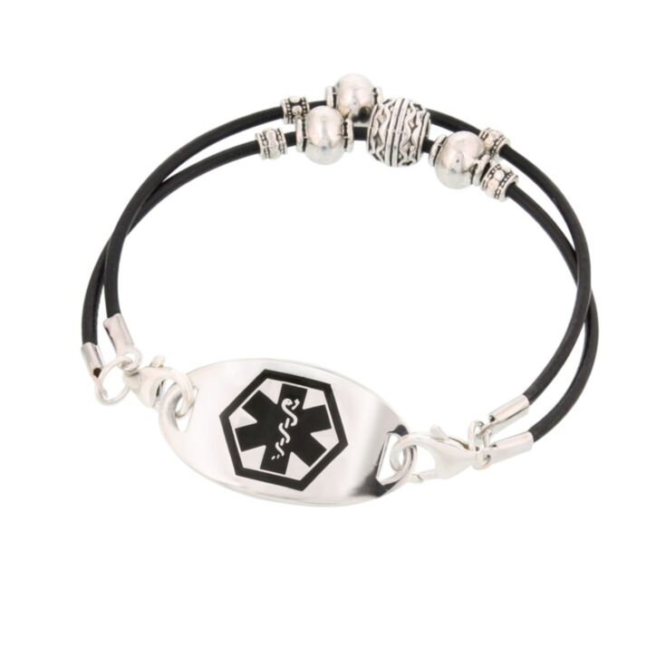 silver mingle medical id on southwest style, fashionable, black leather cord bracelet with silver beading accents