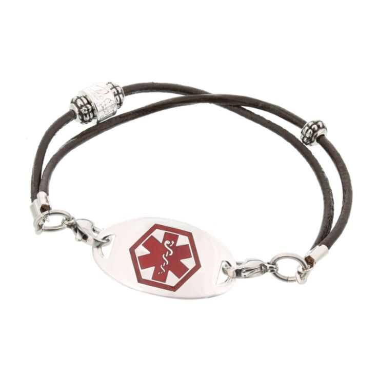 contemporary, western style medical id bracelet with antique style beading, brown leather bracelet for women