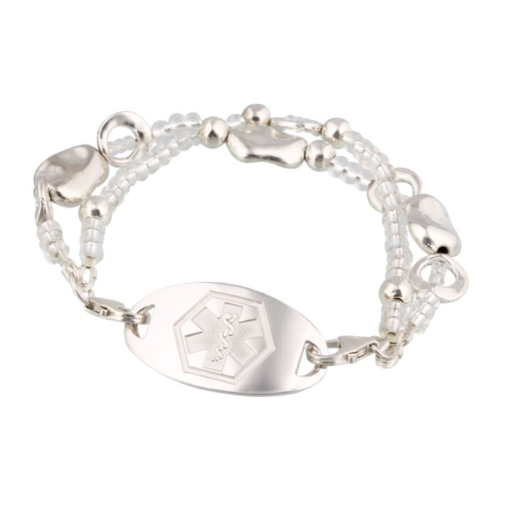 multi-string, silver plated pewter and clear glass beads medical id bracelet for women, sterling silver id plate with rhodium overlay