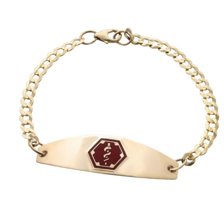 premier gold medical id bracelet for women with gold curb chain, medical id plate with red emblem