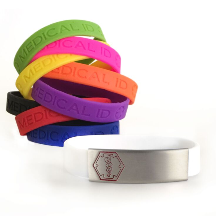stainless steel, sleek style medical alert bracelet with red medical emblem outline, silicone band