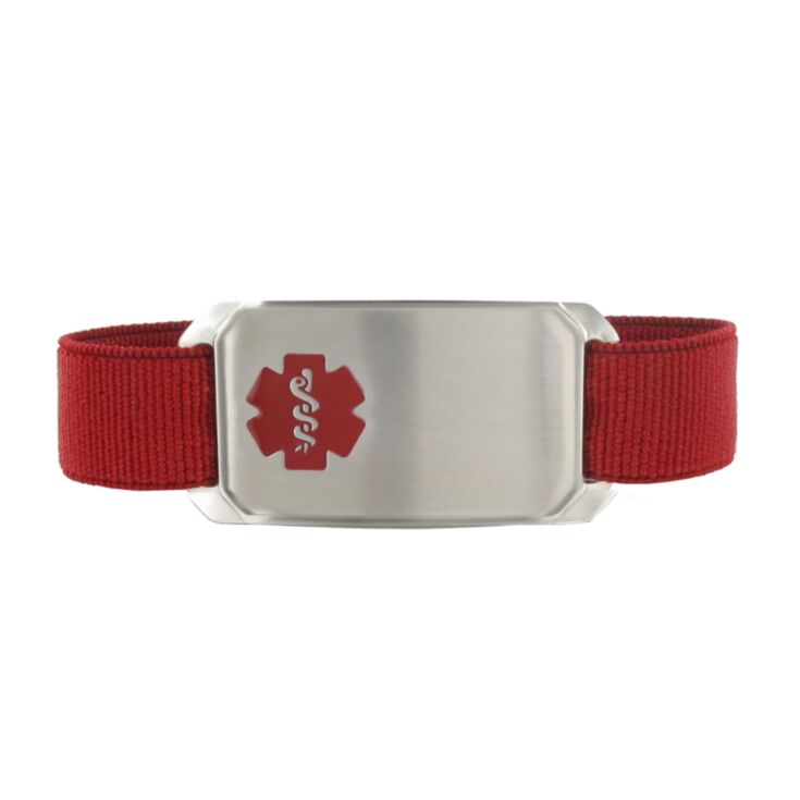 "red sportband medical id for men, elastic nylon band with large stainless steel medical id tag, fits 6"", 7"", and 8"" size wrists"