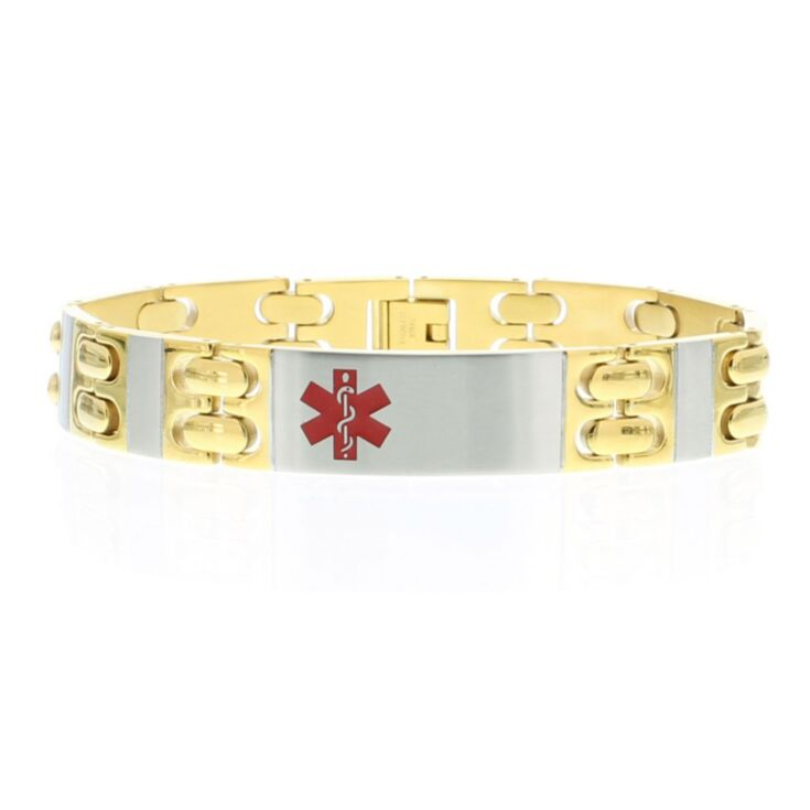 executive style, gold and silver tone stainless steel medical id bracelet for men with foldover clasp