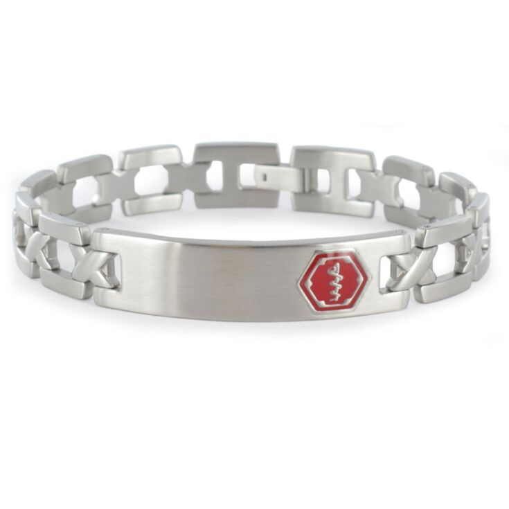 elegant stainless steel medical id bracelet for teens, adults with foldover clasp, easy to wear, comfortable, and stylish lynx roman chain
