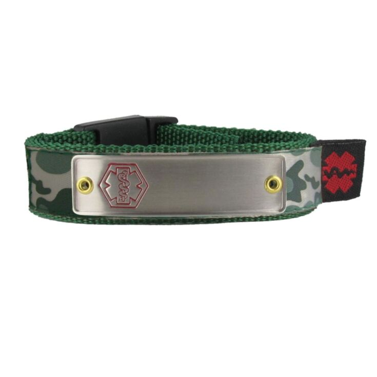 sportband medical id bracelet for active children, teens, and adults, camouflage band pattern, adjustable nylon band with secure center buckle clasp