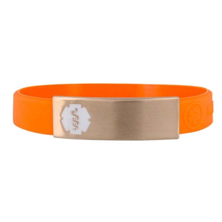 sleek orange silicone band medical id bracelet, stainless steel plate with white medical emblem, unisex