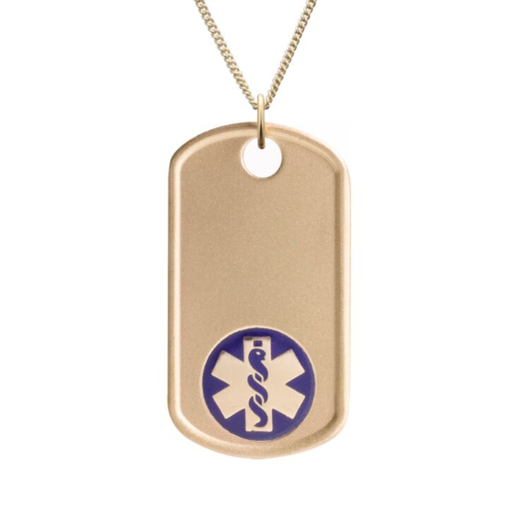 gold dog tag military style medical id necklace with blue emblem
