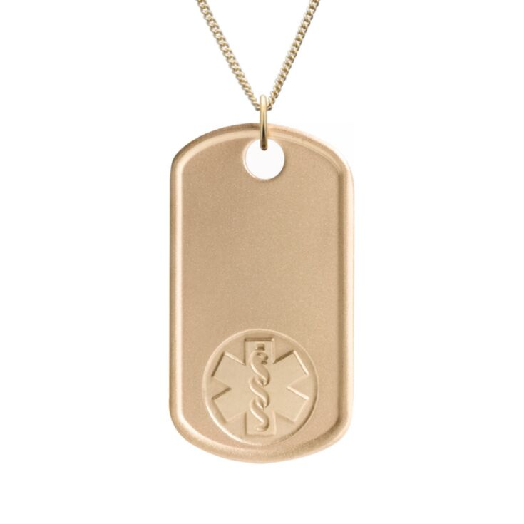 gold military style medical id necklace with miniature dog tag embossed with medical emblem design