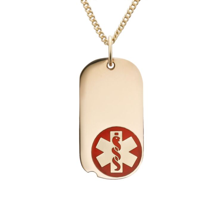 military style dog tag medical id necklace in gold-filled, miniature version in oval shape with red medical emblem