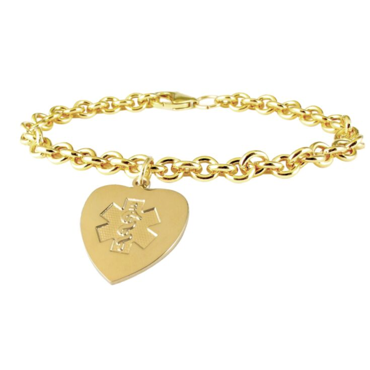gold chain medical id bracelet with matching gold heart charm
