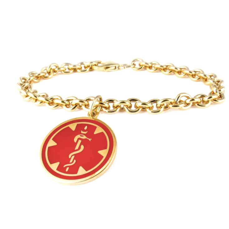 10K Gold-Filled Medallion Red Charm Bracelet