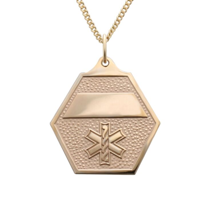 attractive gold classic medical id necklace with gold hexagon charm pendant