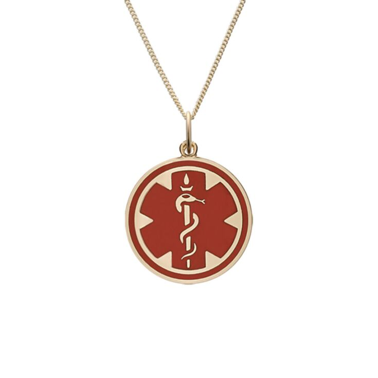 Red medallion charm gold pendant for women's medical id necklace