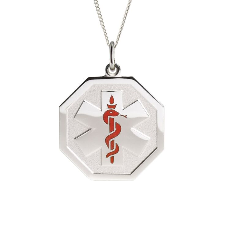 sterling silver embossed necklace with hexagon pendant, subtle medical emblem design for teens and adults, comes with multiple chain options