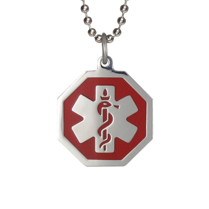 stylish medical alert necklace, stainless steel with red hexagon medical id pendant