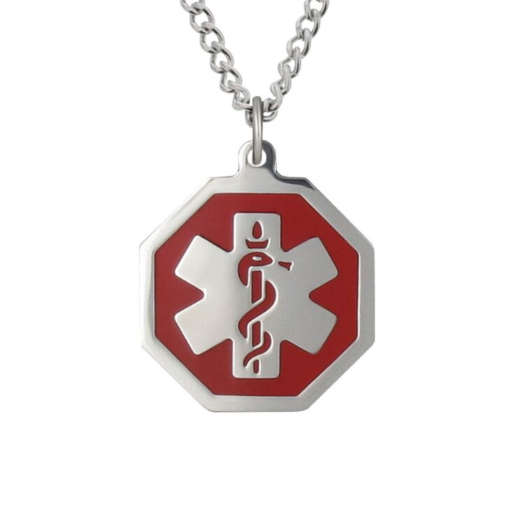 curb chain medical id necklace with hexagon medical emblem pendant in red, stainless steel design