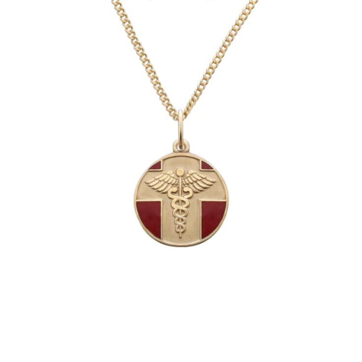 detail of gold and red, round, embossed, and vintage style medical id pendant on chain
