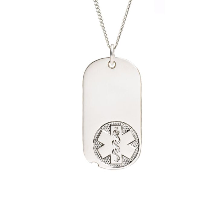 miniature military style medical id necklace, oval dog tag pendant embossed with classic medical emblem, sterling silver curb neck chain included