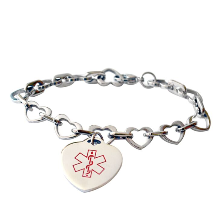 medical id bracelet for women with heart chain design and heart-shaped medical id charm, fits teens, adults, adjustable link chain with claw clasp