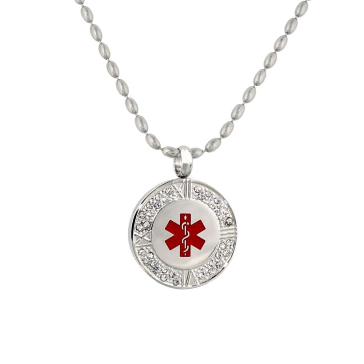 crystal pendant medical id necklace with 36 sparkling crystals, stylized roman numeral clock design on pendant, rice ball neck chain, red enamel medical emblem accent, for women