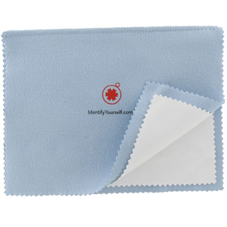 light blue jewelry cleaning and polishing cloth with non-scratching micro-abrasives and treated material