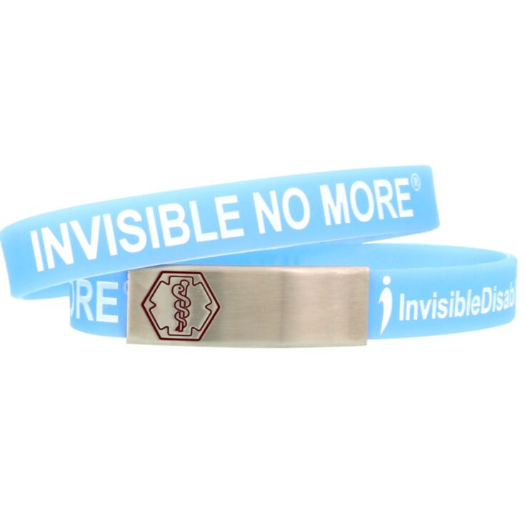 light blue invisible disabilities medical id, awareness silicone band bracelet with stainless steel plate