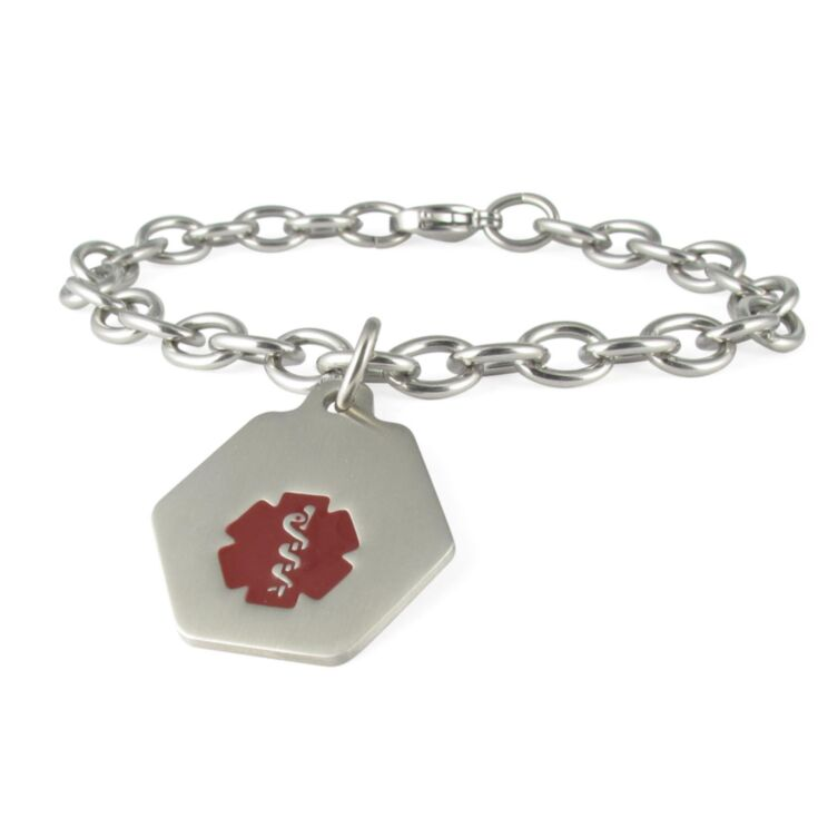 Small Hexagon Charm Bracelet with Red Medical Emblem Accent, Stainless Steel ID Tag on Durable Chain Style Bracelet