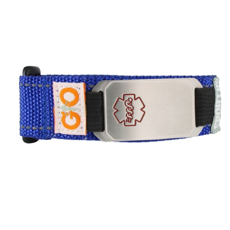 blue flexible mesh sportband medical id bracelet, sporty design durable nylon band with removable stainless steel id designed with red medical symbol outline