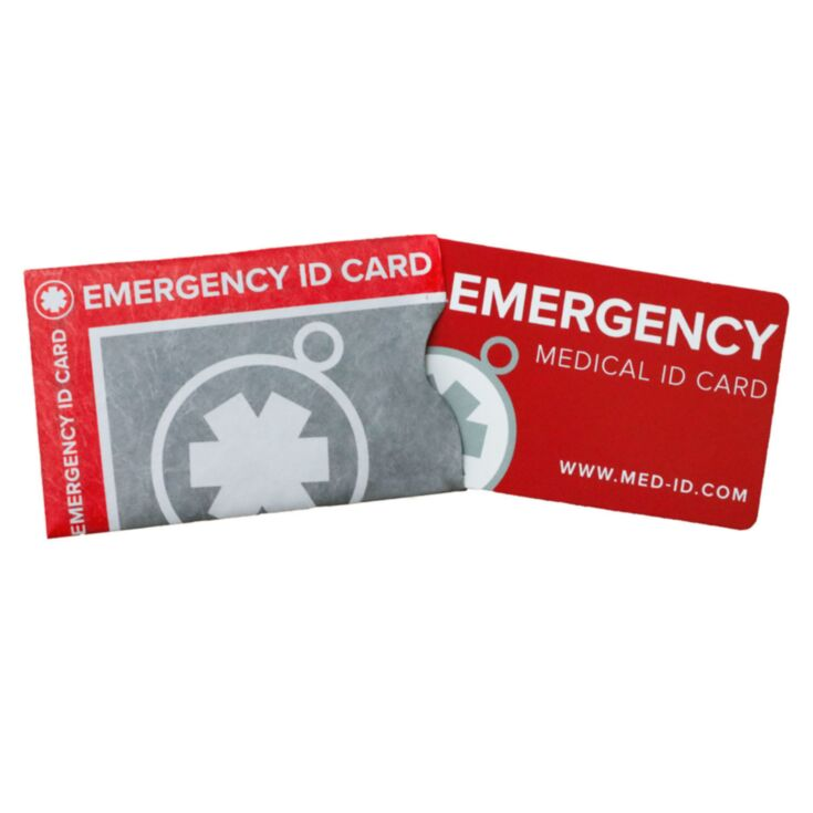 Red and black expandable medical ID wallet card with write-on spaces for personal and medical information for emergency