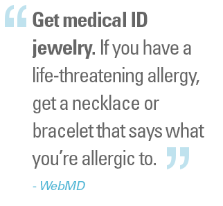 Web MD Recommends Allergy Medical Bracelets