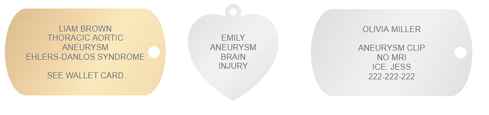 aneurysm medical alert id engraving