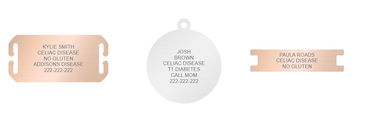 celiac disease medical id engraving