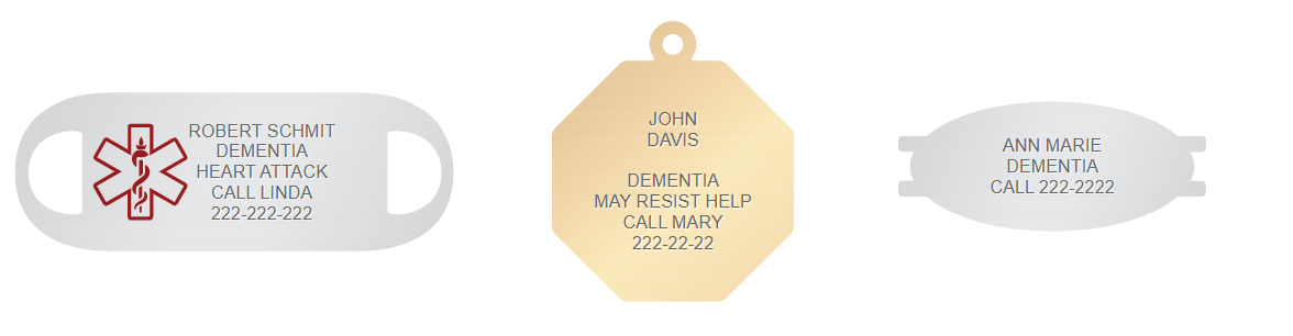 dementia engraving for medical id