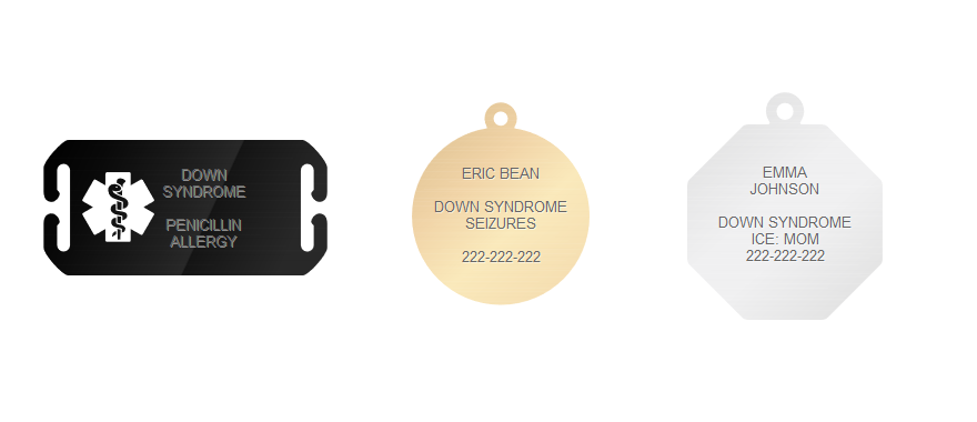 what to put on down syndrome alert bracelet