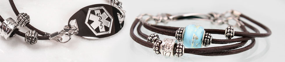 Leather Medical ID Bracelets