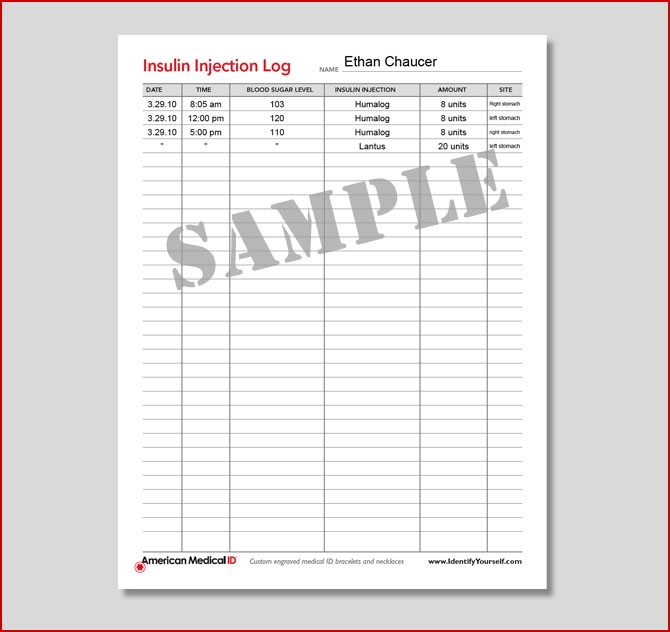 Free Medical Form Insulin Injection Log
